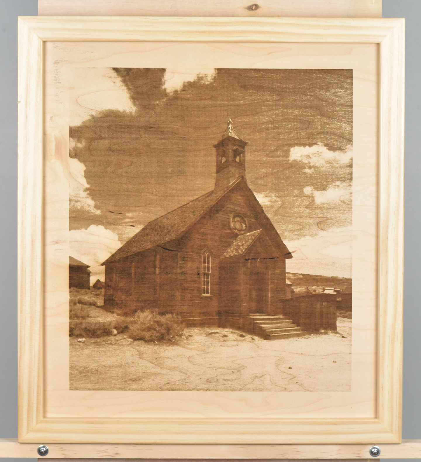 A wood burning (digital pyrograph) of an old wooden methodist church in Bodie California. It submits placidly to the relentless high-desert sunshine. Photograph by Carol Highsmith.