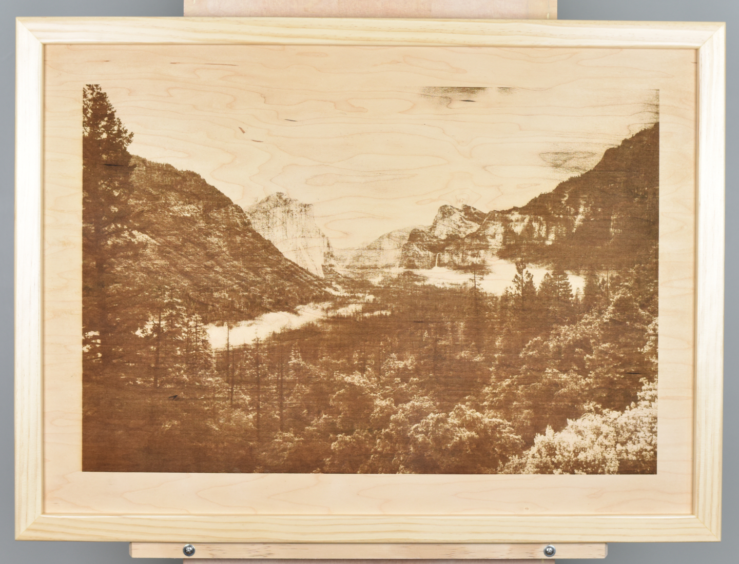 A wood burning (digital pyrograph) of Yosemite Valley taken from the Tunnel View.